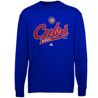 adidas Chicago Cubs Youth Sunday Script Long Sleeve T-Shirt - Royal Blue - http://www.shareasale.com/m-pr.cfm?merchantID=7124&userID=1042934&productID=523392881 / Chicago Cubs