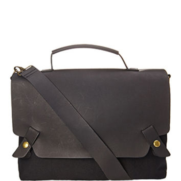 Paneled Faux Leather Messenger Bag