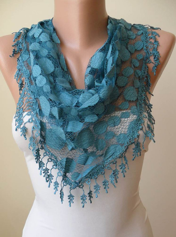 New - Lace Scarf - Turqouise Blue - Polka Dot Fabric  - Scarf with Trim Edge