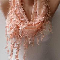 New - Feminine - Lace Scarf in Light Salmon with Salmon Trim Edge