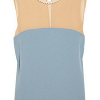 Moschino Cheap and Chic | Embellished chiffon and crepe top | NET-A-PORTER.COM