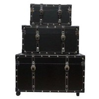 Amazon.com: The College Girl Dorm Trunk - Black - 3 Piece Set: Home &amp; Kitchen
