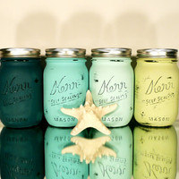Home / Office / Dorm Decor - Painted and Distressed Shabby Chic Mason Jars - Aquatic - Vase