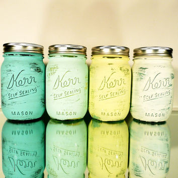 Home / Office / Dorm Decor - Painted and Distressed Shabby Chic Mason Jar Vases - Seaside Inside/Outside Pint