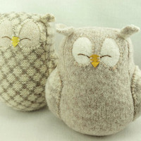 Felt Owl Ornament  Eco Friendly Home Decor Owl Light  Beige Felted Wool Lamb Wool Stuffing Upcycled   Height 7""