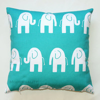 Premier Prints Turquoise and White Elephant Pillow Cover- 16x16 inches- Hidden Zipper Closure
