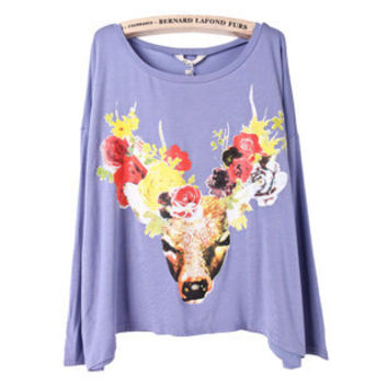 Purple Long Sleeve Deer Print Loose T-Shirt - Sheinside.com