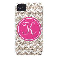 Preppy Chevron in Gold Glitter Iphone 4 Cases from Zazzle.com