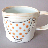 porcelain cup with translucent bottom by stepanka on Etsy