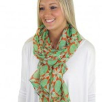 Mint And Coral Print Scarf - C64