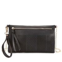 Laser Cut-Out Cross-Body Purse by Charlotte Russe - Black