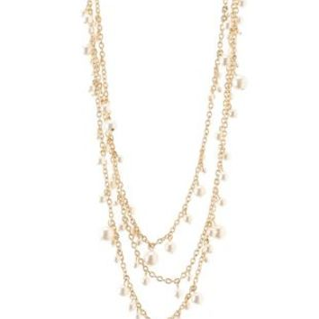 Layered Chain & Pearl Necklace by Charlotte Russe - Gold