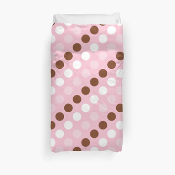 Polka Dots, Spots (Dotted Pattern) - Pink Brown