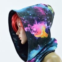 Galaxy Print Cowl Hood with Black Holographic Lining - Reversable