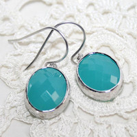 Aqua Sea Mist Earrings, Mint green Drops summer earrings,Oval Mint Blue Opal Earrings, Framed glass briolette earrings , Rhodium -Wedding