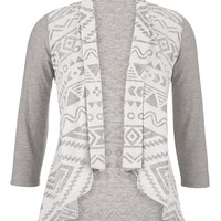 contrast pattern open front cardigan
