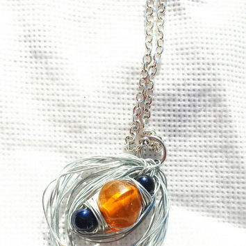 Beaded wire necklace, Wire wrapped, silver blue orange, 19 inch silver chain,  christmas gift,  gift for her, stocking stuffer
