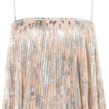 Foil Flower Pleat Cami Top - Tops  - Apparel