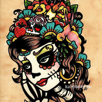Day of the Dead Art Sugar Skull Print Beauty 8 x 10