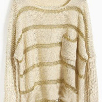 Apricot Batwing Long Sleeve Striped Hollow Sweater - Sheinside.com