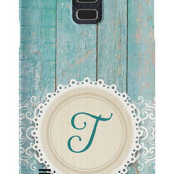 Monogram Teal Rustic iPhone or Samsung Galaxy Case, Shabby Chic Phone Case, Vintage Phone Case, Country Phone Case, Lace Phone Case