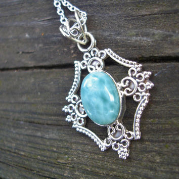 Blue necklace, larimar necklace, 925 silver necklace, blue stone necklace, gift for her, Christmas gift ideas