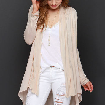 Checking In Light Beige Cardigan Sweater