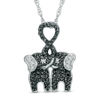 1/4 CT. T.W. Enhanced Black and White Diamond Kissing Elephants Pendant in Sterling Silver