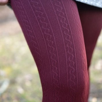Warm In Burgundy Cable Knit Leggings