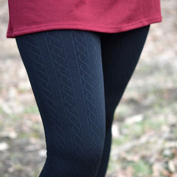 Warm In Black Cable Knit Leggings
