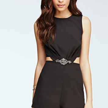 Faux Stone Embellished Romper