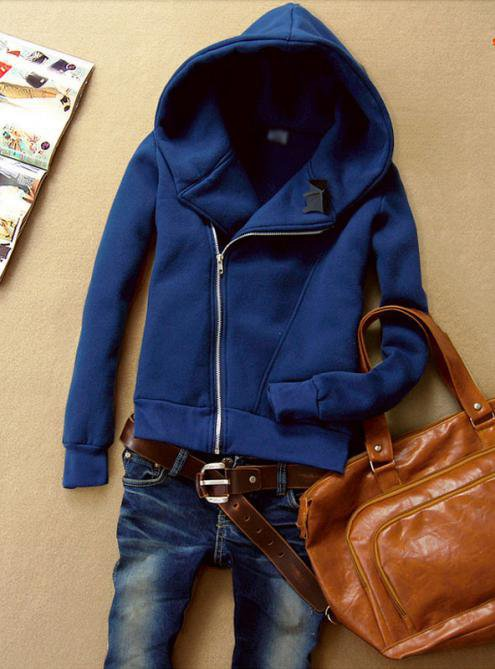 Navy Blue Hooded Zip Long-sleeved Panda Sweatshirt $41.00