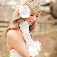 2012 Summer Avant Glam Collection Feather Rhinestone and Pearl Ivory Silk Petal Fingerless Gloves
