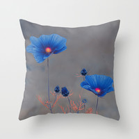 Blue flowers. Throw Pillow by Mary Berg