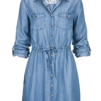 tie waist long denim shirt dress