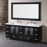 "Design Element Stanton 72"" Double Vanity Set with Drop-in Sinks - B72-DS - Bathroom Vanities - Bathroom Fixtures - Bed & Bath"