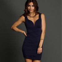 Navy Endless Tiers Dress
