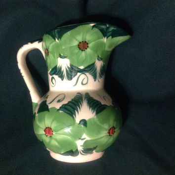 Hand Painted, Green Floral, Pitcher, planter, marked Mexico