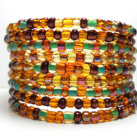 Memory Wire Bracelet Autumn Brown and Teal Beaded Wrap Bracelet