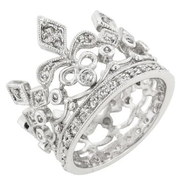 CZ Crown Eternity Ring - Silver / 9