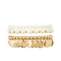 Pearl & Leaf Stretch Bracelets - 3 Pack by Charlotte Russe - White