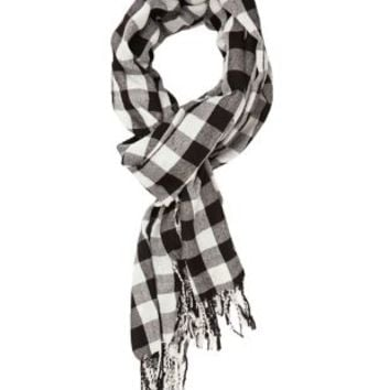 Checkered Fringe Scarf by Charlotte Russe - Black Combo