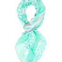 Stripe and Zig Zag Scarf by Charlotte Russe - Mint