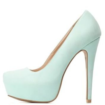 Qupid Almond Toe Platform Pumps by Charlotte Russe  Mint