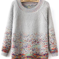 Grey Round Neck Mohair Sweater with Colorful Dots - Sheinside.com