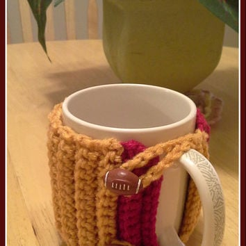 San Francisco 49ers Football button Crochet Mug Cozy
