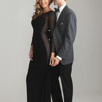 Sheath Formal Prom Gown With Sheer Long Sleeves Night Moves By Allure 6686