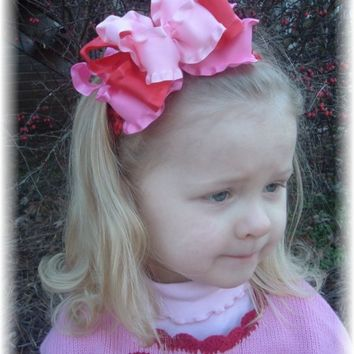 Valentines Day Red  Pink  Hot Pink Double Ruffle Triple Layer Hair Bow Headband Bowband Or Clip Infant Toddler Girls