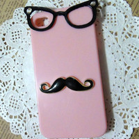 Mr mustache iPhone Case , black glasses  PINK case cover fits for iPhone 4 Case, iPhone 4s Case, iPhone 4 Hard Case, iPhone Case
