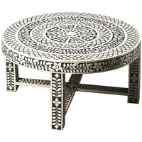 Black & White Bone Inlay Coffee Table, Circular